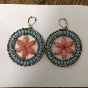 Blue and coral beaded earrings